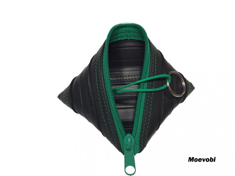 - Schlüsseletui aus Fahrradschlauch mit grünem Reißverschluss - Upcycling - Schlüsseletui aus Fahrradschlauch mit grünem Reißverschluss - Upcycling