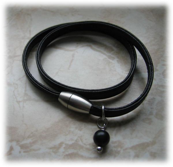 Kleinesbild - Nappaleder-Armband, zweifach mit Onyx-Perle, schwarz