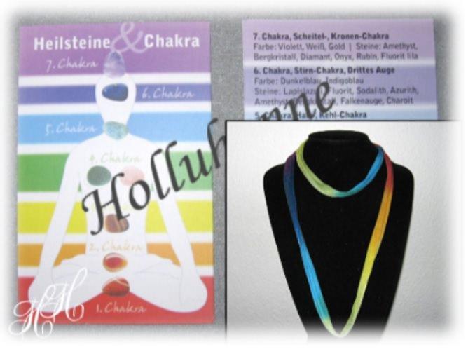 Kleinesbild - Buntes Seidenband/ Seidenkette in 7 Chakra-Farben + Karte