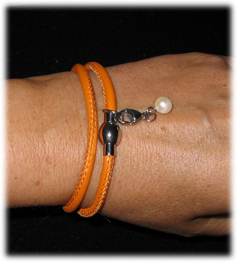 Kleinesbild - Set - Seidenschlauchschal + Nappalederarmband - Orange
