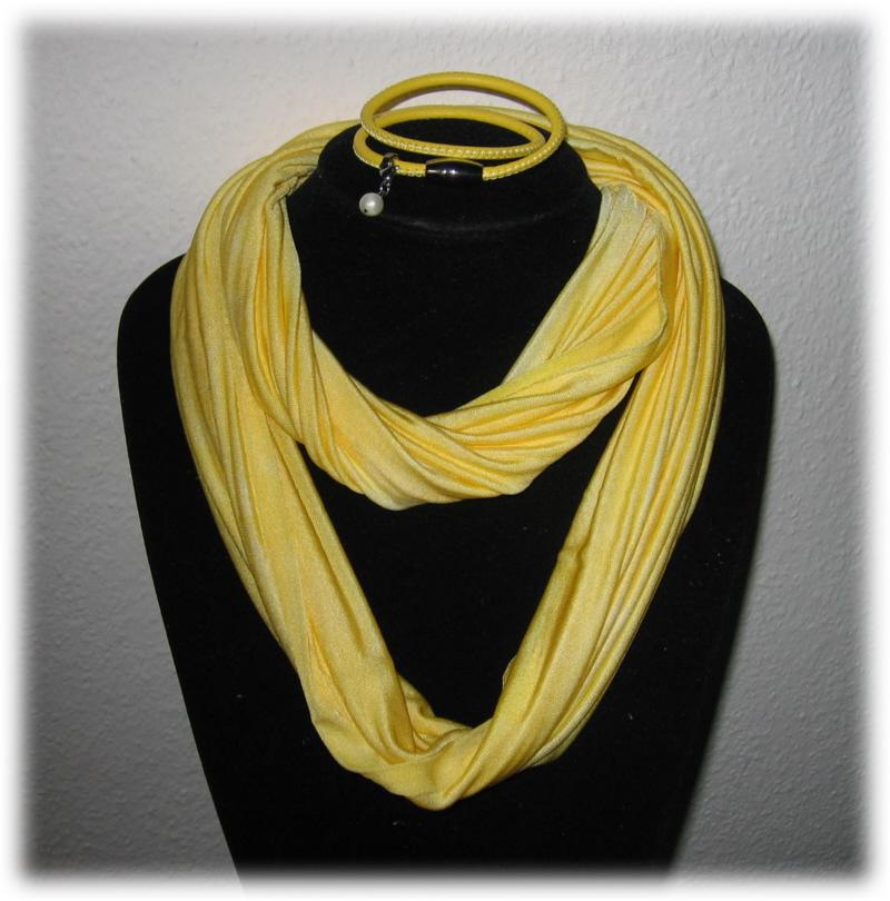 - Set - Seidenschlauchschal + Nappalederarmband - Gelb - Set - Seidenschlauchschal + Nappalederarmband - Gelb