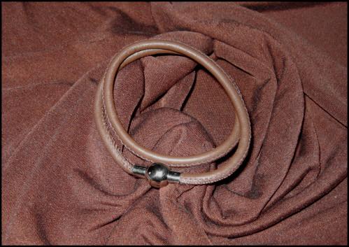 Kleinesbild - Set - Seidenschlauchschal + Nappalederarmband - Braun