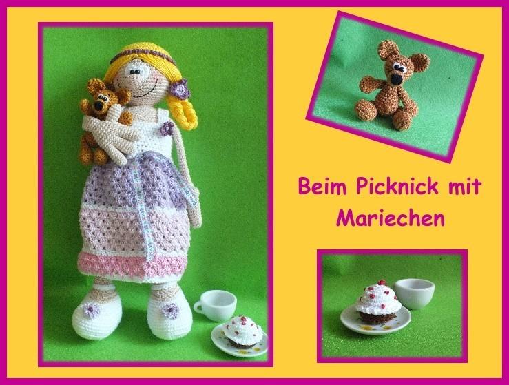"""-      ♡ Häkelanleitung """"Picknick mit Mariechen"""" ♡, Gehäkeltes, Puppe, Bär, Muffin -      ♡ Häkelanleitung """"Picknick mit Mariechen"""" ♡, Gehäkeltes, Puppe, Bär, Muffin"""