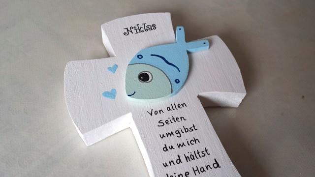 Kleinesbild - Taufkreuz Taufe Kinder Kreuz Holz Fisch 3D NurVonMir ♡