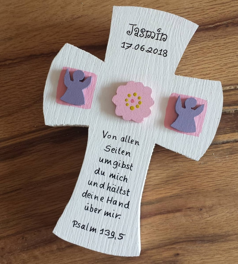 Taufkreuz Taufe Kinder Kreuz Holz Blume Engel 3D NurVonMir ♡