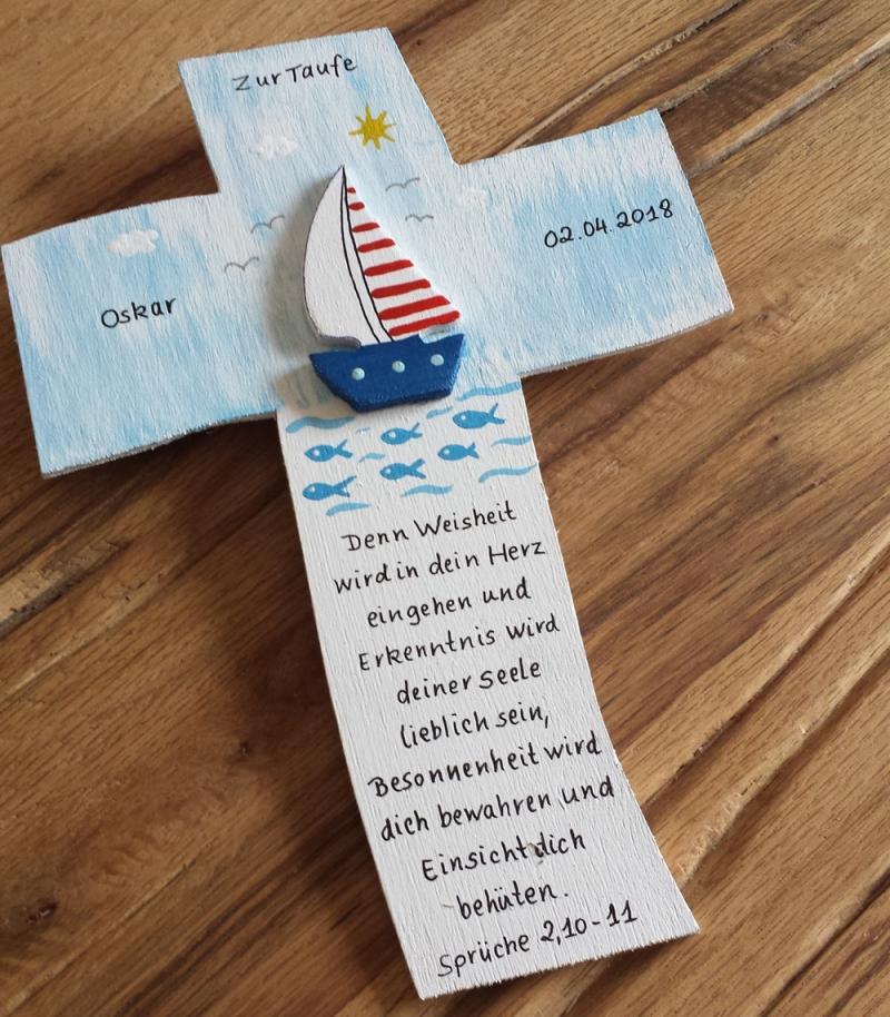 Kleinesbild - Kreuz Taufkreuz Kommunion Kinderkreuz Schiff 3D NurVonMir ♡