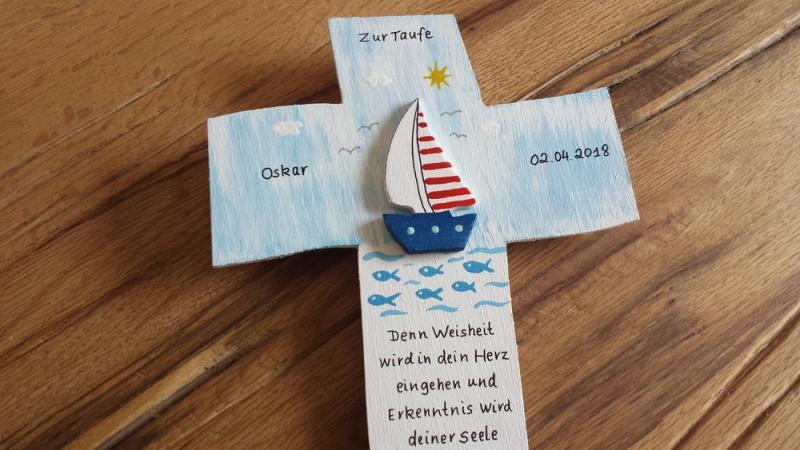 - Kreuz Taufkreuz Kommunion Kinderkreuz Schiff 3D NurVonMir ♡   - Kreuz Taufkreuz Kommunion Kinderkreuz Schiff 3D NurVonMir ♡