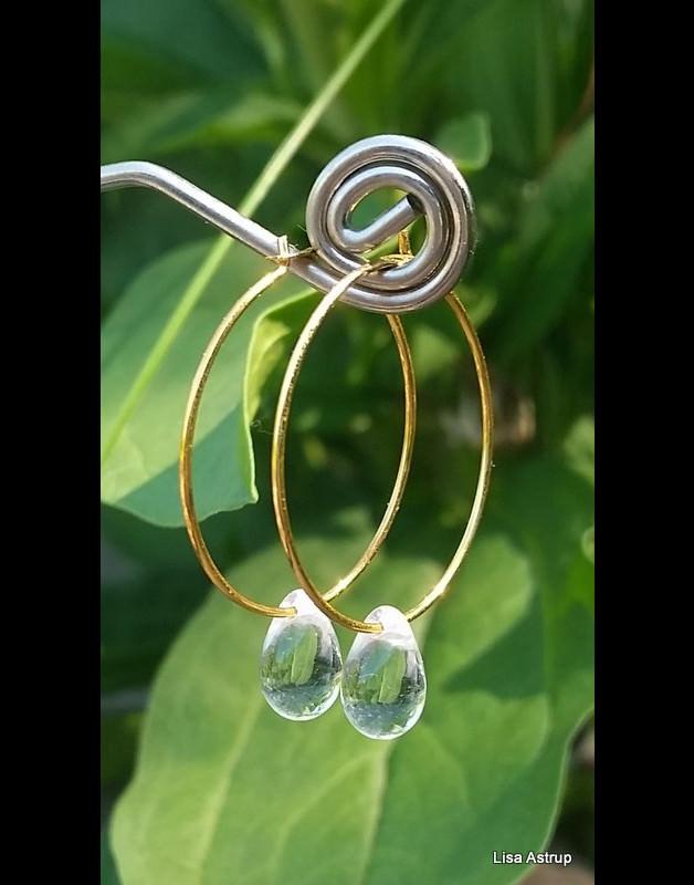 - Clear drop hoop earring - Clear drop hoop earring