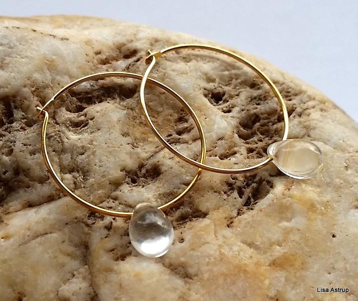 Kleinesbild - Clear drop hoop earring