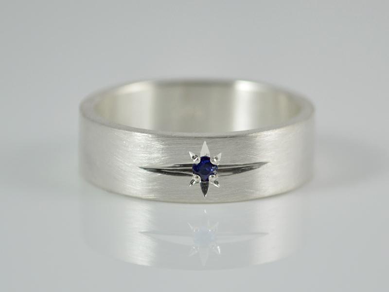Kleinesbild - Ring  ★Blauer Stern ★ echter Saphir / 925er Silber - handgemacht