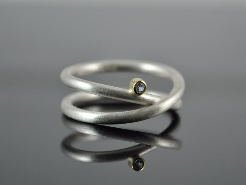 Kleinesbild - Silber-Ring ★Unendlich★925er Silber 585er Gelbgold Topas