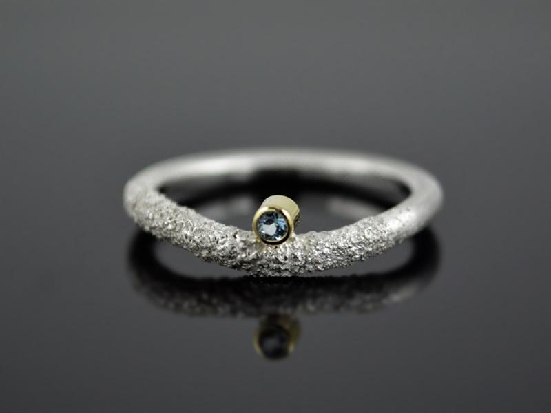 Kleinesbild -  Silber-Ring ★Snake-Eye★  925er Silber 585er Gelbgold Topas