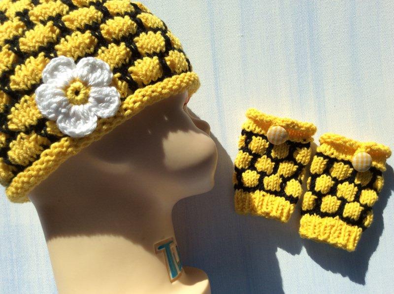 Kleinesbild - Pulswärmer für Neugeborene * Bienen Waben (Kopie id: 100047249)