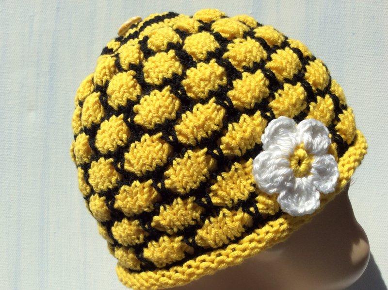 Kleinesbild -  Babymütze * Bienen Waben * KU38 * von Hand gestrickt