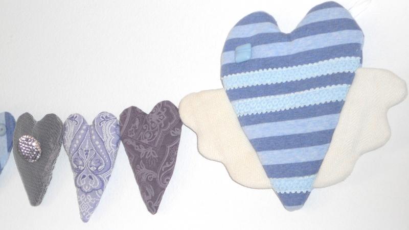 Kleinesbild - Stoffherzen Herzgirlande Herzkette Kinderzimmerdekoration Muttertagsgeschenk