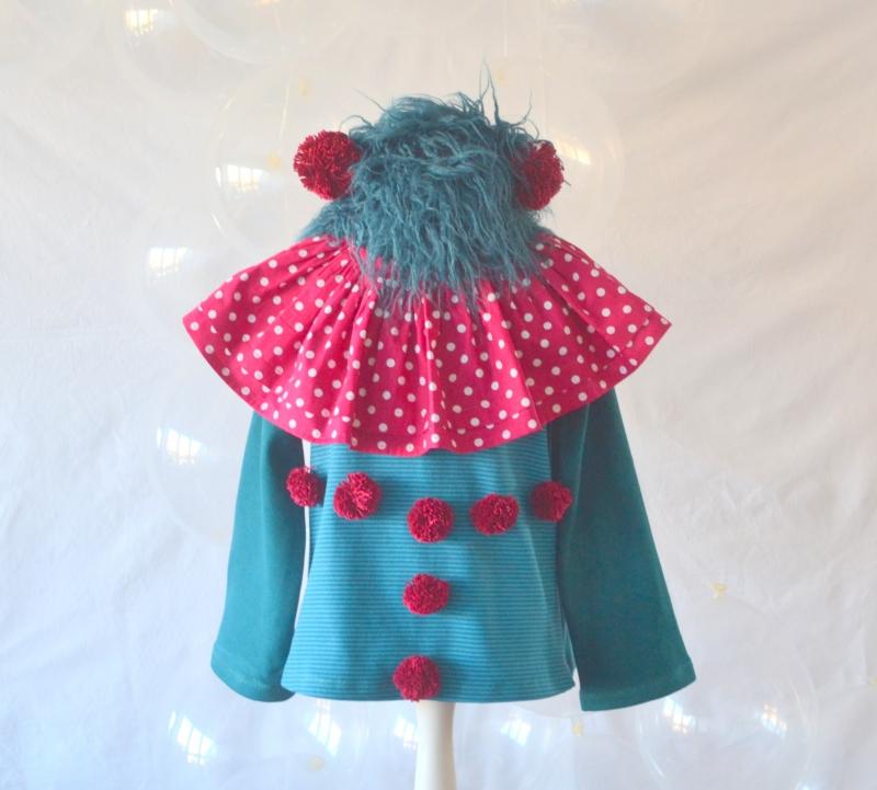 - Clownkostüm für Mädchen und Jungen, Gr. 118 - 122,  Harlekin, Pierrot, Zirkus, Zirkusclown    - Clownkostüm für Mädchen und Jungen, Gr. 118 - 122,  Harlekin, Pierrot, Zirkus, Zirkusclown