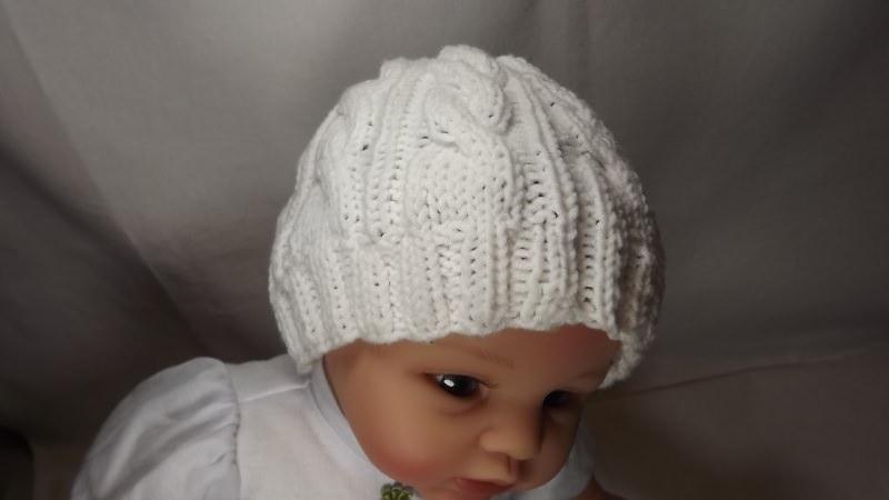 - Baby-Kinder-Strickmütze-in weiss-aus 50% Baumwolle und 50% Polyacryl mit Zopfmuster Art.1264 - Baby-Kinder-Strickmütze-in weiss-aus 50% Baumwolle und 50% Polyacryl mit Zopfmuster Art.1264