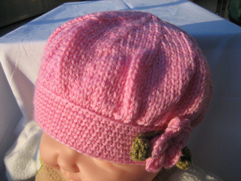 Kleinesbild - Baby-Accessoires-gestrickte-Ballon-Kindermütze rosa-Baumwolle Art.896