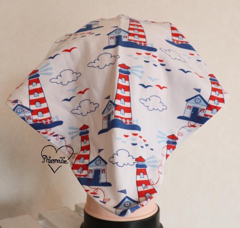 Kleinesbild - Sommerkopftuch * Sonnenhut * Mütze * Maritim * rot * weiß * blau * Leuchtturm * 51-56cm * Jersey