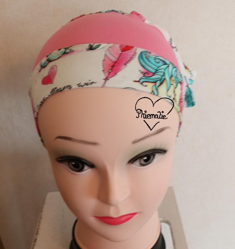 Kleinesbild - Sommerkopftuch * Sonnenhut * Mütze * Einhorn * rosa * bunt * 51-56cm * Unikat * Jersey