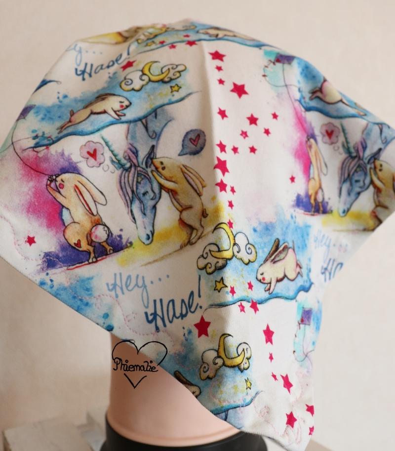 Kleinesbild - Sommerkopftuch * Sonnenhut * Mütze * Einhorn und Hase * pink * bunt * 51-56cm * Unikat * Jersey