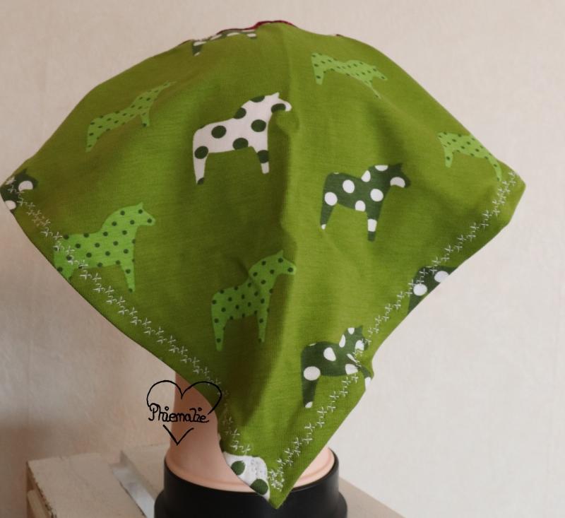 Kleinesbild - Sommerkopftuch * Sonnenhut * Mütze * Pferd * grün * 51-56cm * Unikat * Jersey