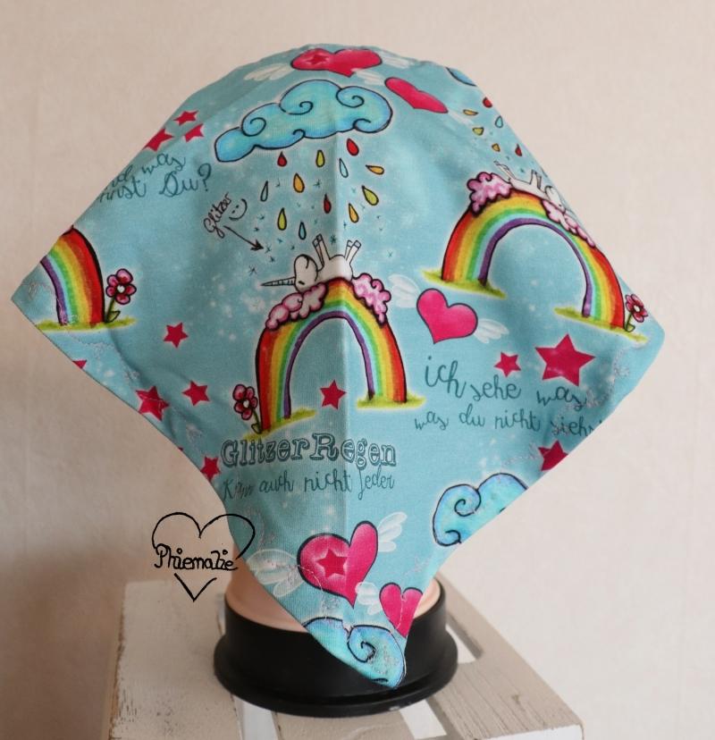 Kleinesbild - Sommerkopftuch * Sonnenhut * Mütze * Einhorn * Regenbogen * blau * 51-56cm * Unikat * Jersey