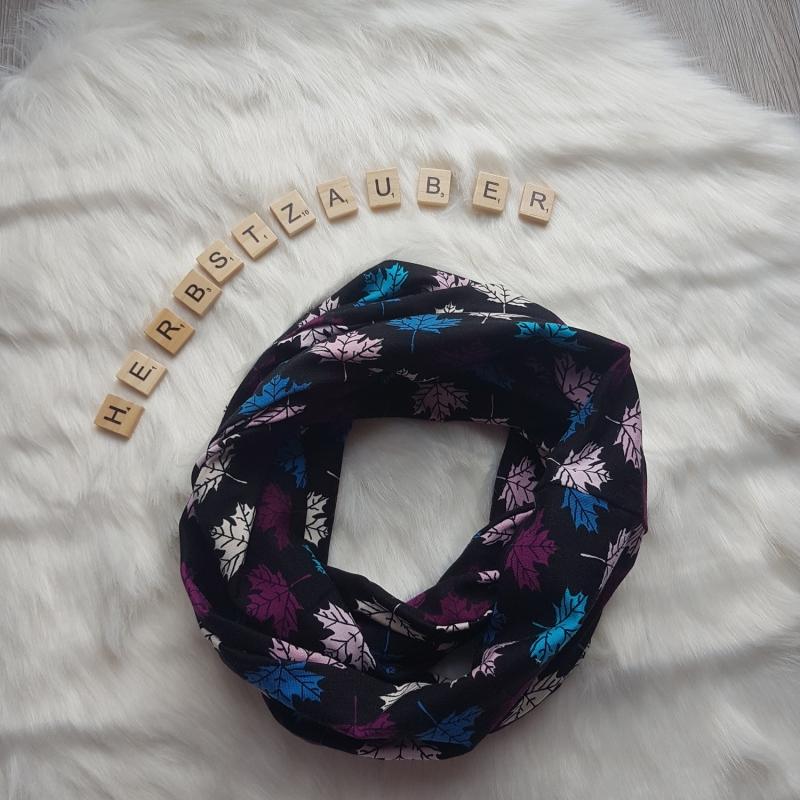 Kleinesbild - Loop * Schal * Blätter * Ahorn * bunt * schwarz * Herbst * Jersey
