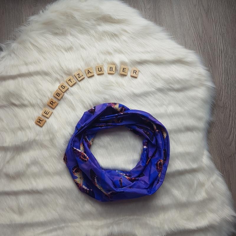 Kleinesbild - Loop * Schal * Schmetterling * lila * blau * Herbst * Jersey