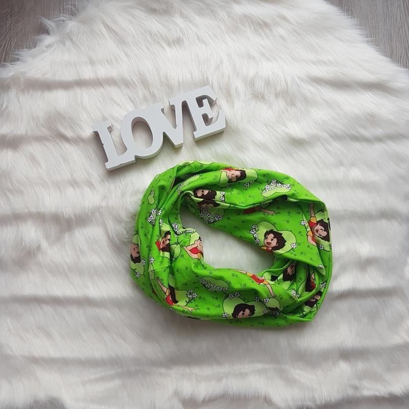 Kleinesbild - Loop * Schal * Heidi * grün * Herz * Blumen * Unikat * Jersey