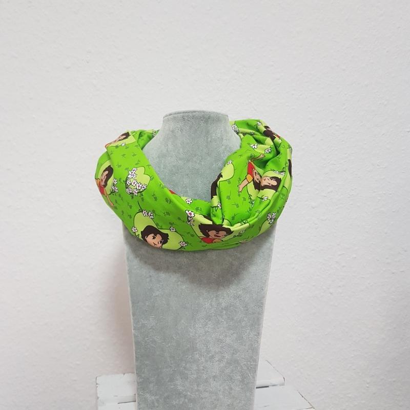 - Loop * Schal * Heidi * grün * Herz * Blumen * Unikat * Jersey - Loop * Schal * Heidi * grün * Herz * Blumen * Unikat * Jersey