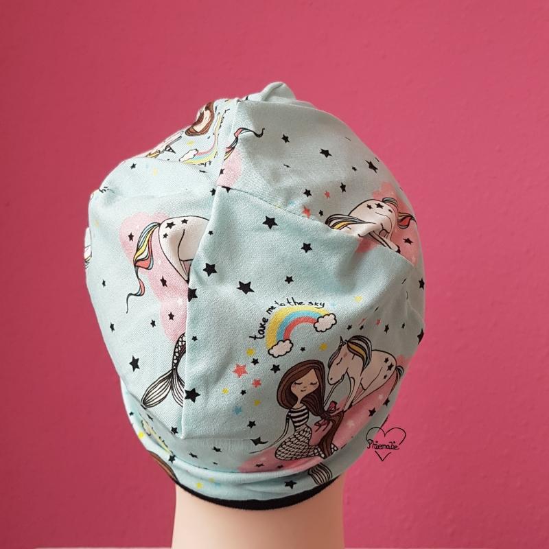 Kleinesbild - Mütze * KU ca.53-54cm * Jersey * Meerjungfrau * Einhorn