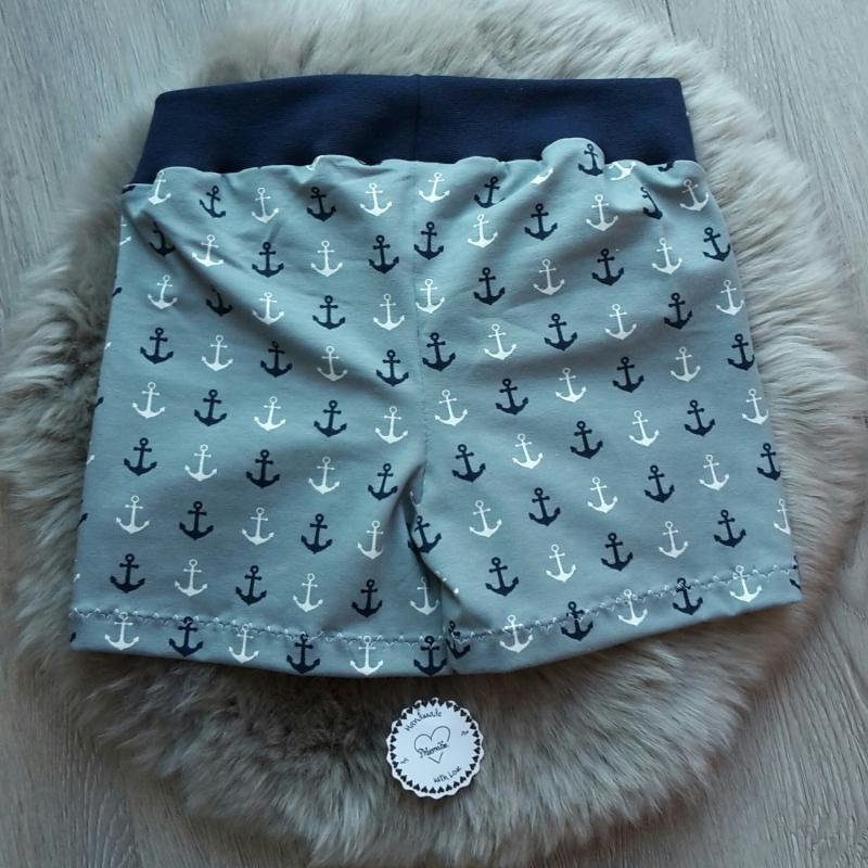 Kleinesbild - Set * kurze Hose * Shorts * Shirt * Anker * Gr.98-104 * grau * blau * Jersey * Maritim