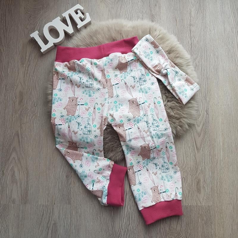 Kleinesbild - Baby Set * Hose * Pullover * Haarband * Gr. 74/80 * Bär * Jersey * Unikat * Beere * creme