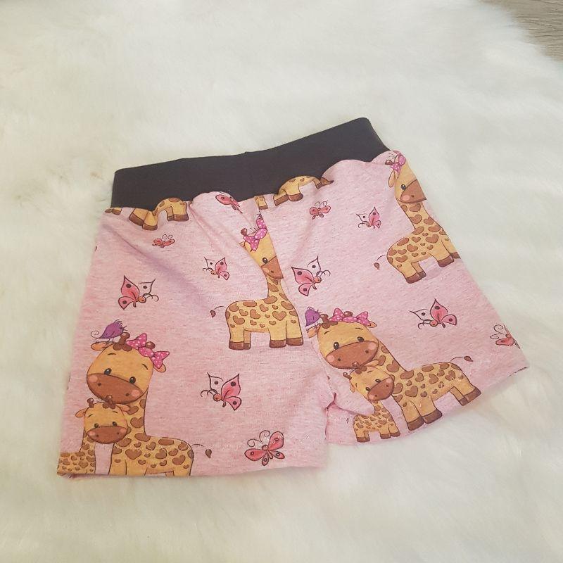 Kleinesbild - kurze Hose * Shorts * Giraffen * Gr.86/92 * meliert * rosa * Schmetterlinge * Jersey