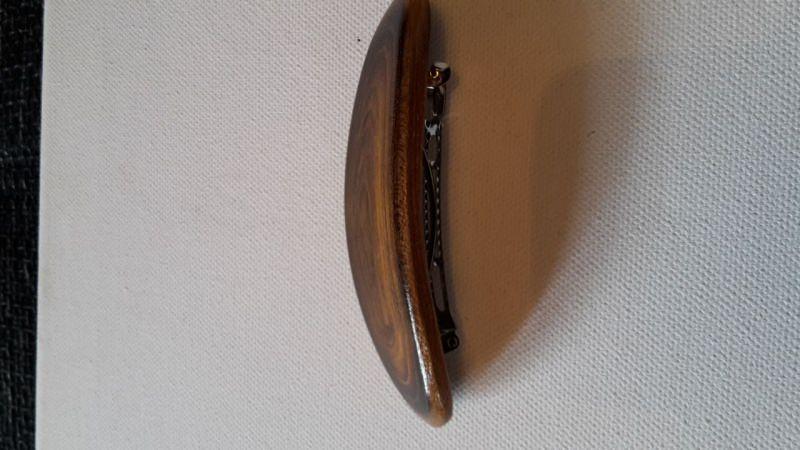 Kleinesbild - Braune Holz Haarspange Oval geschraubte  Metallspange 80 cm Lang