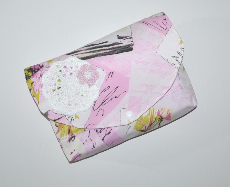 - Büchertasche - Buchtasche - Schutzhülle Shabby mit Häkelapplikation - Büchertasche - Buchtasche - Schutzhülle Shabby mit Häkelapplikation