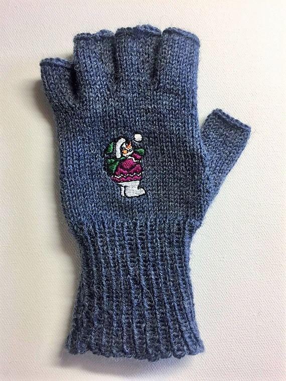 Kleinesbild - Handschuhe fingerfrei, Marktfrauen, Musiker, Reiter,... mit gesticktem Schneemann
