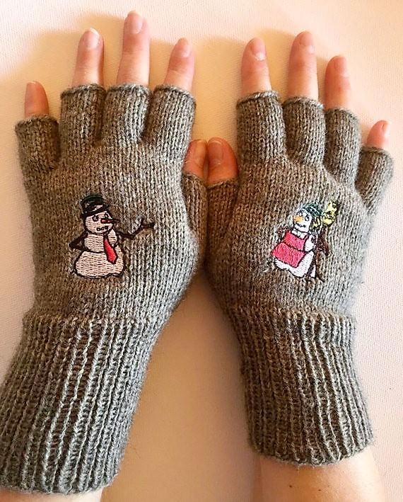 - Handschuhe fingerfrei, Marktfrauen, Musiker, Reiter,... mit gesticktem Schneemann - Handschuhe fingerfrei, Marktfrauen, Musiker, Reiter,... mit gesticktem Schneemann