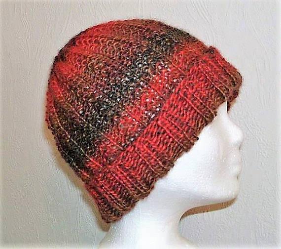 Kleinesbild - Handgestrickte Mütze - Beanie in rot braun Tönen