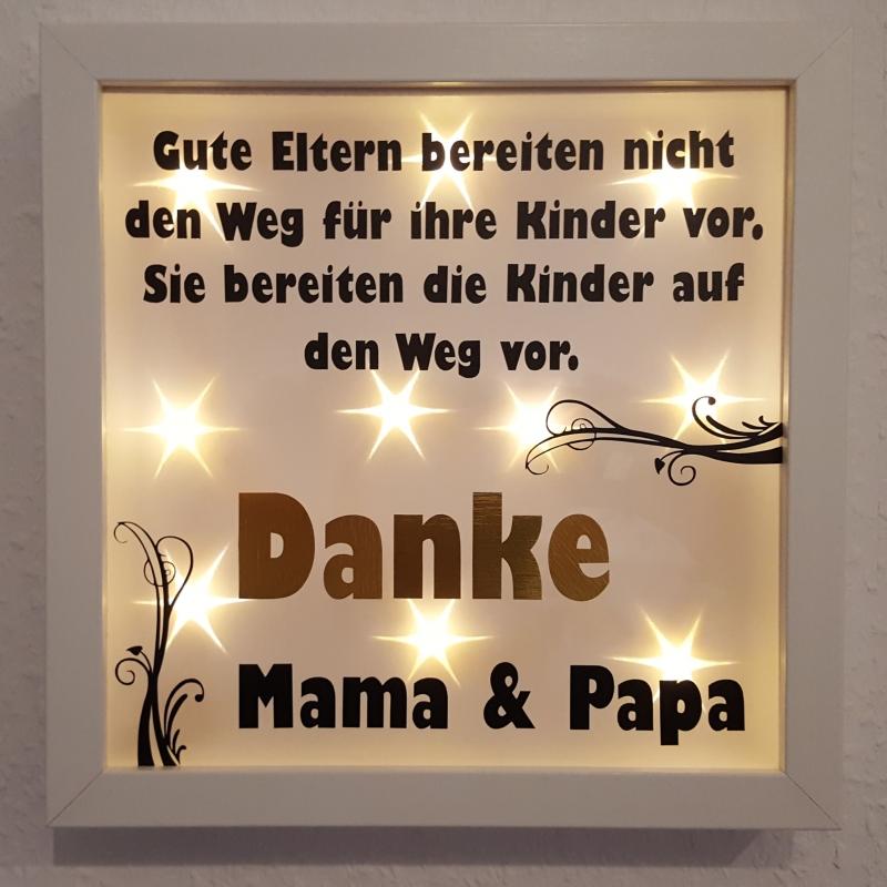 Wanddekoration : Leuchtrahmen, Lichtrahmen, Bilderrahmen Danke Mama ...