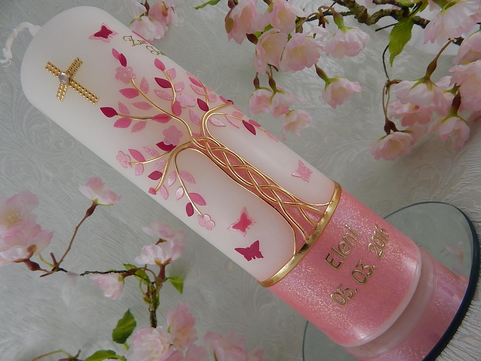 Kleinesbild - Taufkerze Kommunionkerze Lebensbaum rosa gold für Mädchen mit Name und Datum