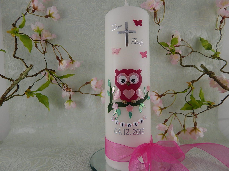 Kleinesbild - Taufkerze Kommunionkerze Eule pink rosa Mädchen mit Name und Datum