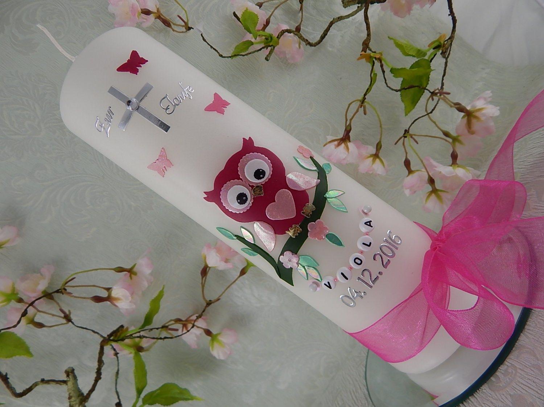 - Taufkerze Kommunionkerze Eule pink rosa Mädchen mit Name und Datum - Taufkerze Kommunionkerze Eule pink rosa Mädchen mit Name und Datum