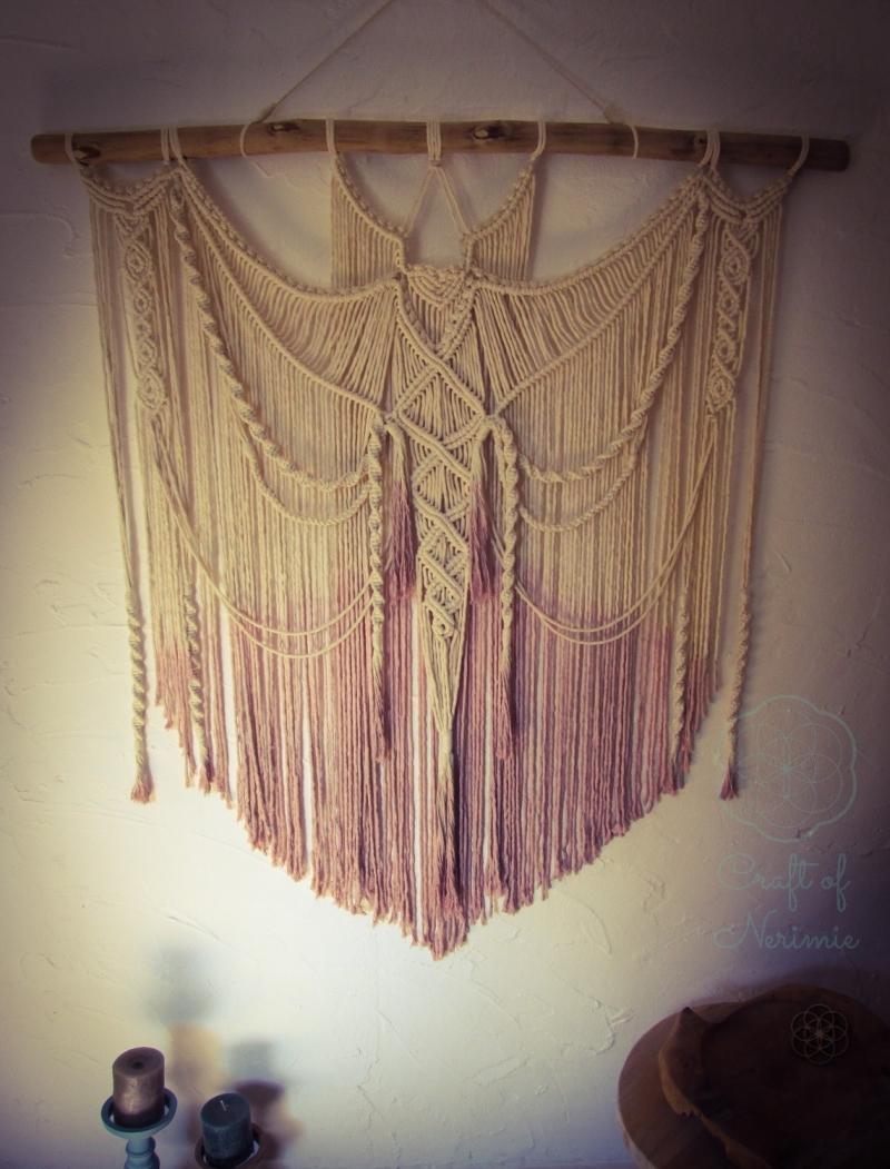 Wohnen makramee wandbehang vorhang altrosa ombre gef rbt batik gro xl orientalisch boho - Makramee wandbehang ...