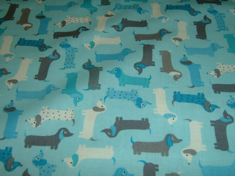 - Hunde Dackel Dog   Patchworkstoff Baumwolle  50x110 cm - Hunde Dackel Dog   Patchworkstoff Baumwolle  50x110 cm