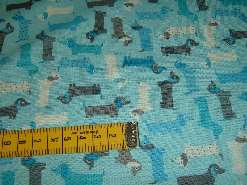 Kleinesbild - Hunde Dackel Dog   Patchworkstoff Baumwolle  50x110 cm