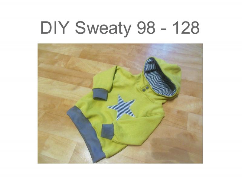 Nähanleitungen : DIY 98 - 128 Sweatshirt mit Kapuze Schnittmuster ...