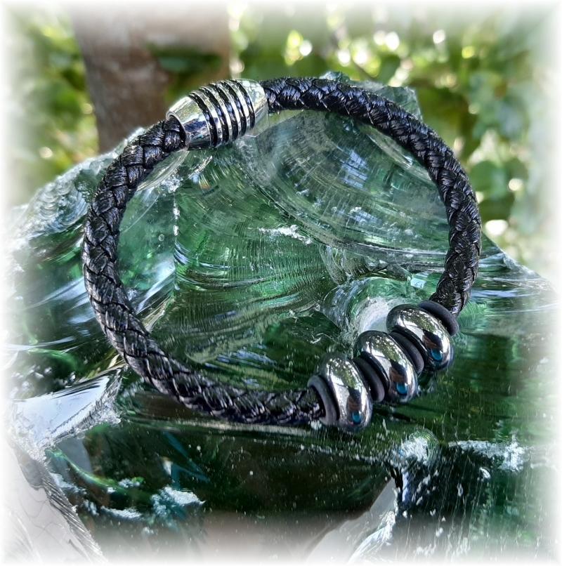 Herren Rostfreier Stahl Leder handgefertigt Armband Armband mit Magnetverschluss
