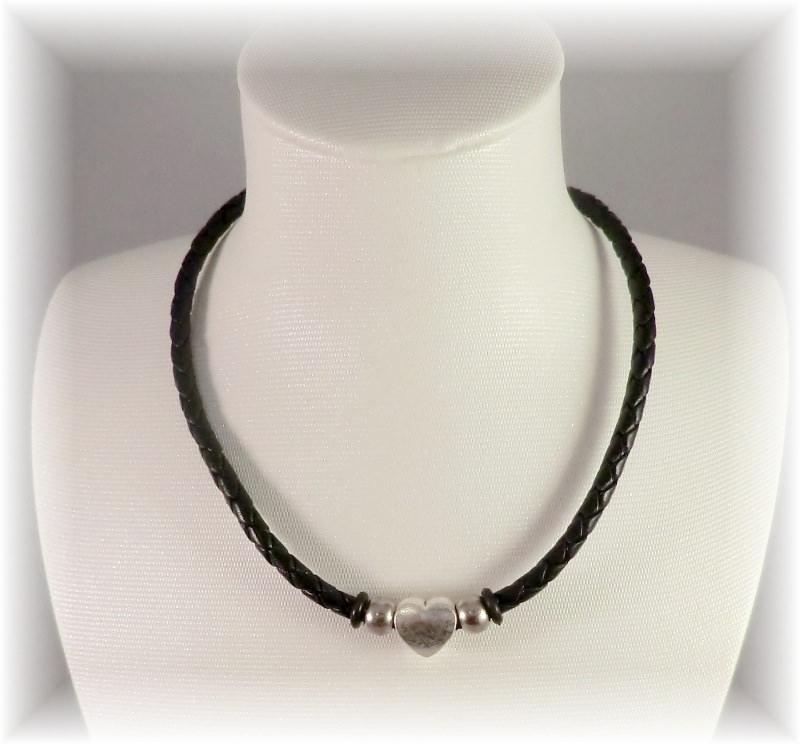 Kleinesbild - *Valentinstagsrabatt* #Mon Coeur# handgemachte Designer Leder Halskette für Damen und Mädchen